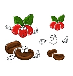Coffee berries and beans cartoon characters vector