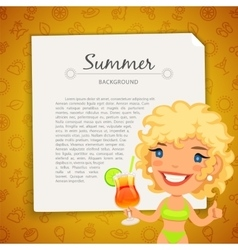 Colorful Summer Background with Blonde Lady vector image vector image