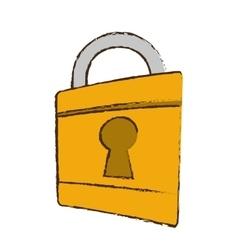 Drawing padlock lock security money bank vector
