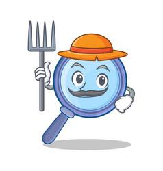 farmer magnifying glass character cartoon vector image