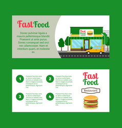 Fast food restaurant horizontal flyers vector