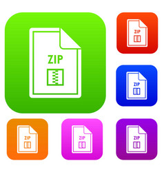 File zip set collection vector