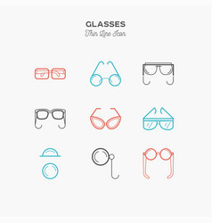 Glasses sunglasses lenses monocle and more vector