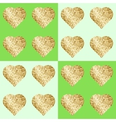 Glittering hearts in seamless pattern vector image vector image
