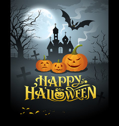 happy halloween pumpkin message vector image vector image