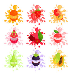 juicy ripe fruits splashing set of colorful vector image