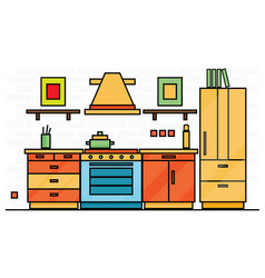 Kitchen interior with table stove and fridge vector