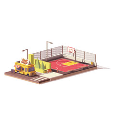 Low poly food truck and basketball court vector