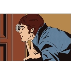 Man peeping through the keyhole vector