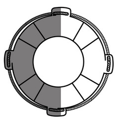 monochrome silhouette of flotation hoop with rope vector image vector image