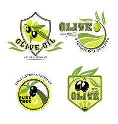 Olive oil product icons set vector