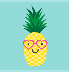 Pineapple with glasses in the form of the heart vector