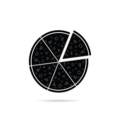 Pizza black icon vector