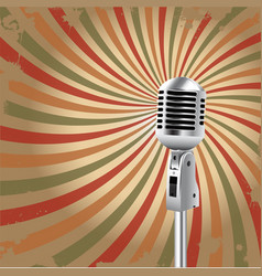 retro microphone rays background vector image