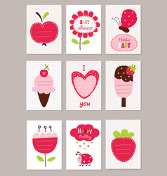 Set of baby cards vector