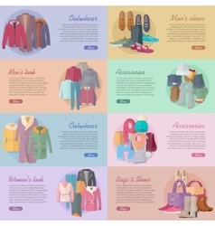 Set of Clothing Shoes Accessories Look Banners vector image vector image