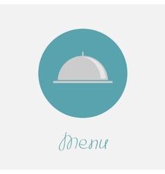 Silver platter cloche circle icon flat design menu vector