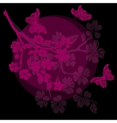 Twig cherry blossoms and butterfly vector