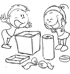 Wish fulfilled - children rejoice unpacking gifts vector