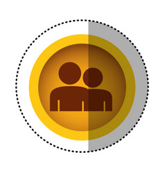 Yellow round symbol people together contact icon vector