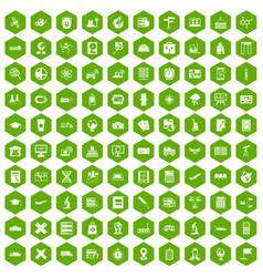 100 globe icons hexagon green vector