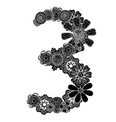 Hand drawn floral number 3 vector