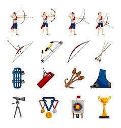 Archery flat icons set vector