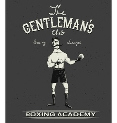 Vintage old poster with boxer vector image