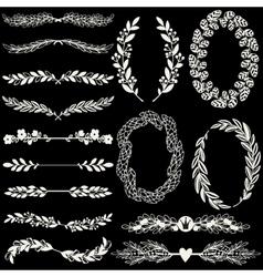 Set of handdrawn laurels and wreaths vector image