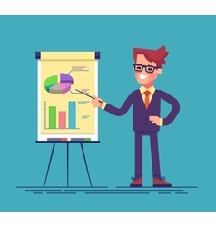 Man standing near flip chart and pointing graphs vector image