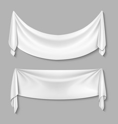 Wrinkled textile drape fabric empty white vector