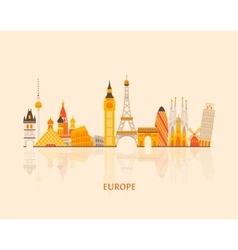 Europe skyline silhouette vector
