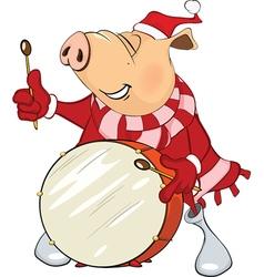 Cute Pig Musician Cartoon vector image
