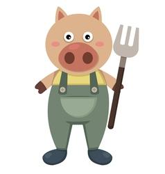 Farmer pig vector