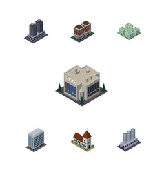 Isometric construction set of water storage house vector