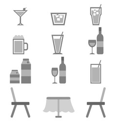 Drinks icons in restaurant on white background vector