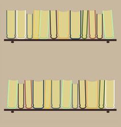 Shelves with colorful booksflat vector