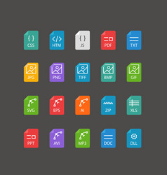 different file types thin line color icons set vector image