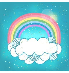 Card with rainbow and cloud vector