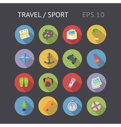 Flat icons for travel and sport vector