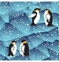 Blue crystal ice background texture with penguin vector