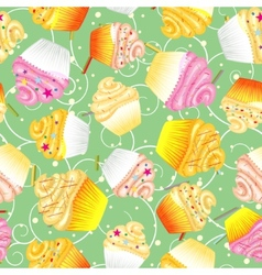 Cupcakes with cream seamless background vector
