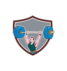Weightlifter lifting barbell shield cartoon vector