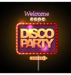 Neon sign disco party welcome vector