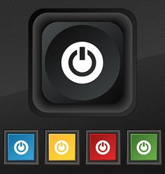 Power switch on turn on icon symbol set of five vector