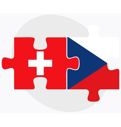 Switzerland and czech republic flags vector