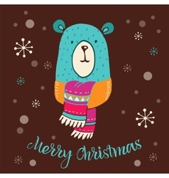 Merry christmas - cute bear with lettering vector