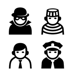 Criminal police and prison userpic icons set vector