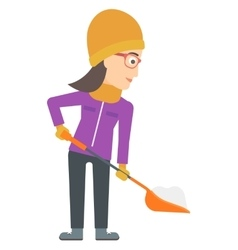 Woman shoveling and removing snow vector