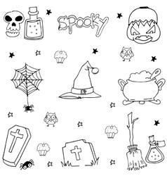 Halloween doodle set black white flat vector